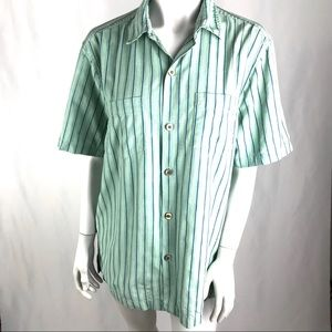 Tommy Bahama Men's Button Up Green w/ Blue Stripes
